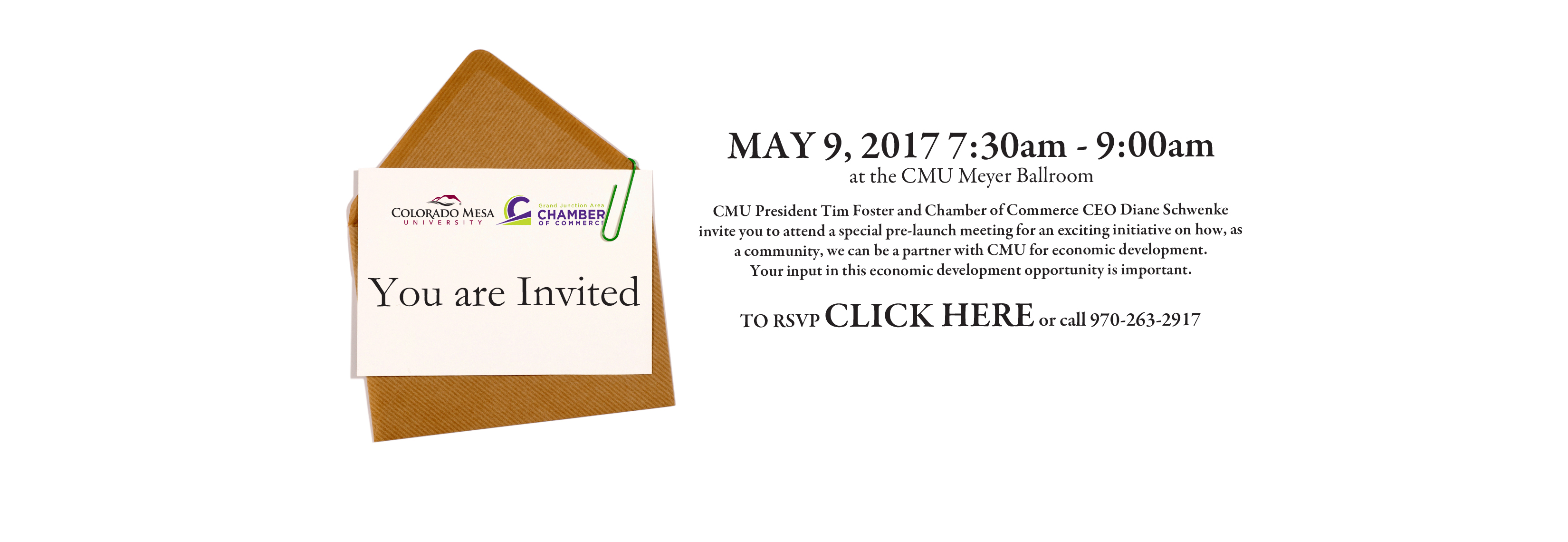 Colorado Mesa University Inviation, May 9, 2017, 7:30 AM at CMU Meyers Ballroon