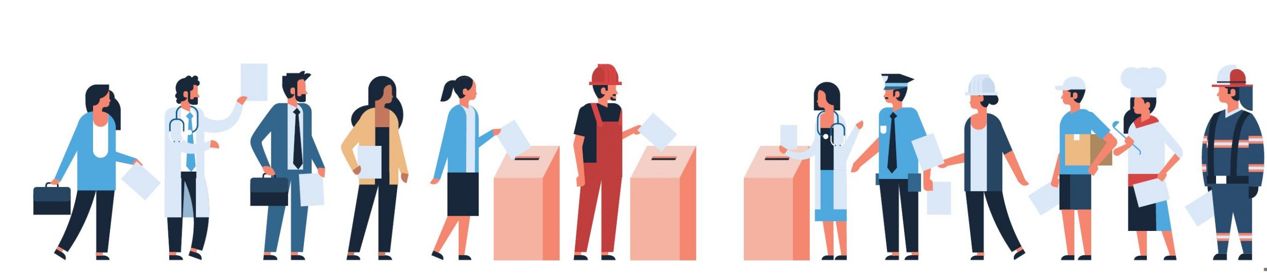 workers drop ballots into box